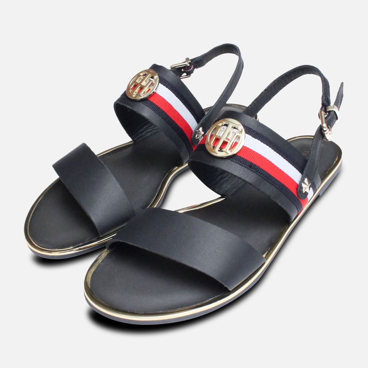 80b23a64049c Tommy Hilfiger Flat Summer Sandals in Navy Blue