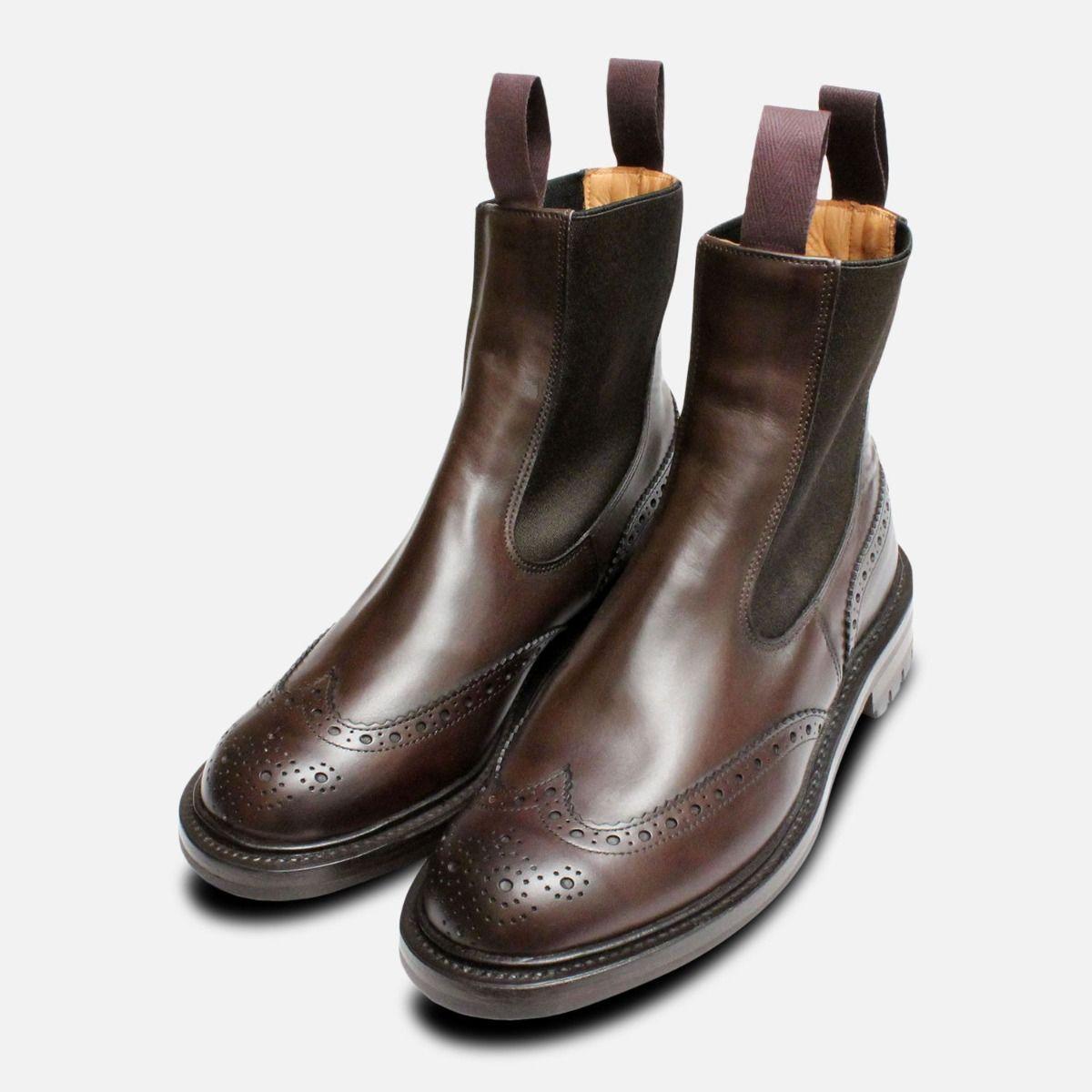 2ee27e757ba Trickers Espresso Brown Brogue Chelsea Boots Silvia