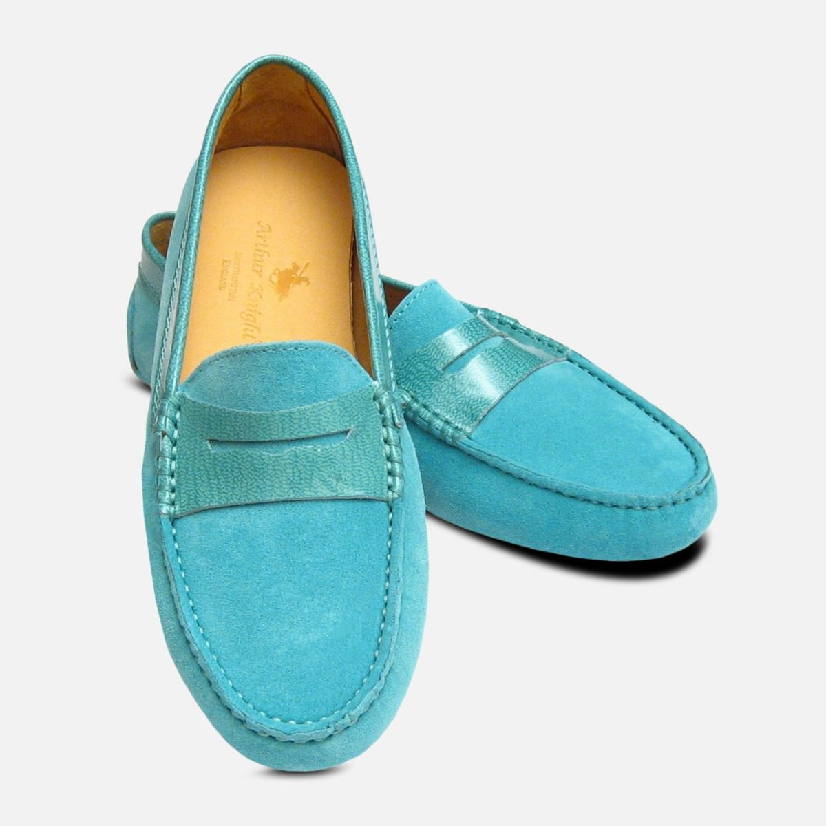 7ed777dbbf058 Turquoise Suede   Patent Leather Designer Ladies Arthur Knight Shoes