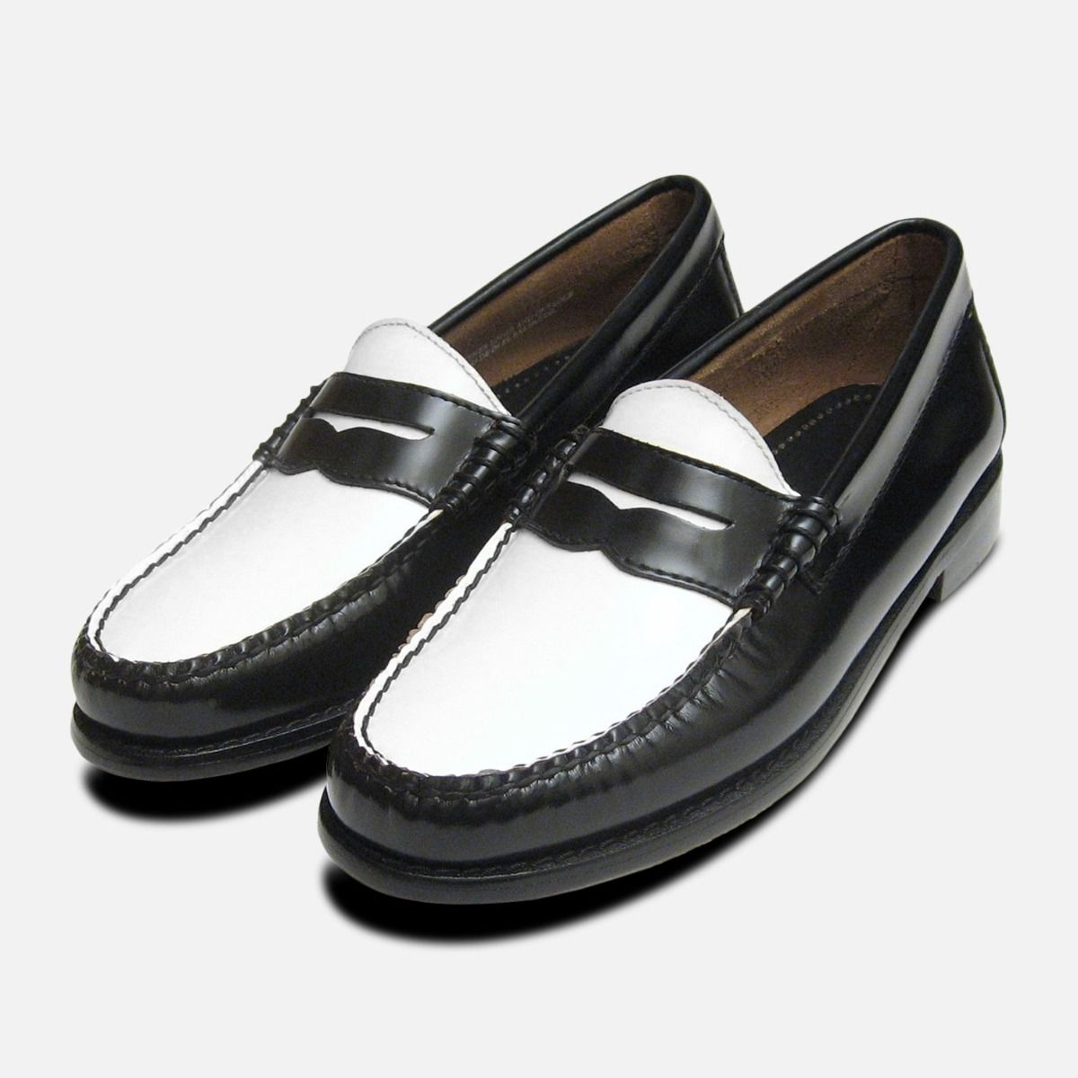 c612a8b4b8f Black   White Ladies Penny Loafers