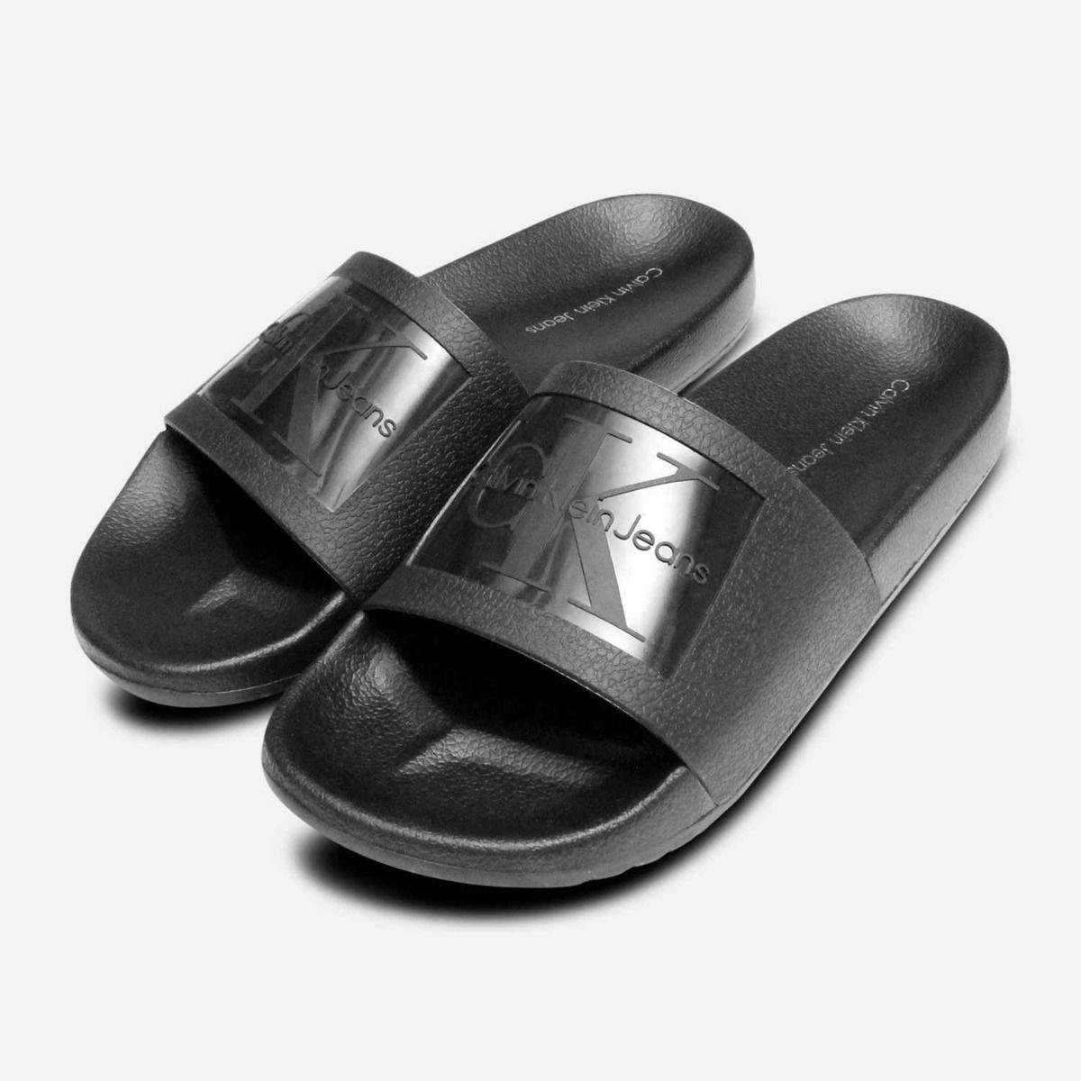 d94653d3393 Vincenzo Black Jelly Calvin Klein Mens Slide Sandals