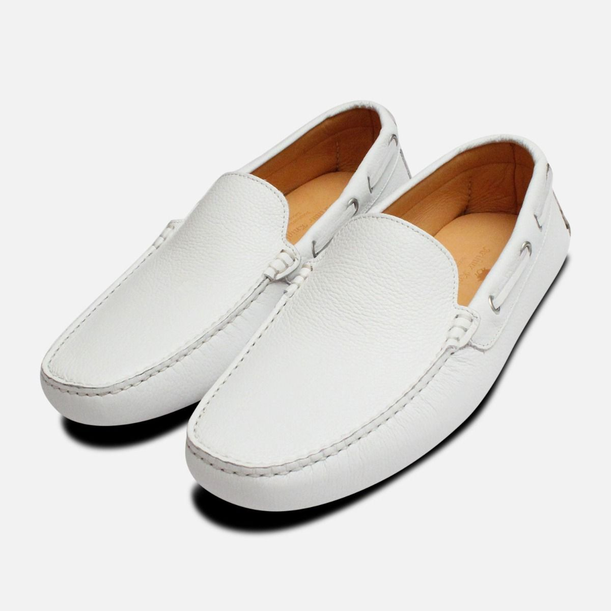 53a8b46b76ed White Leather Mens Driving Shoe Moccasins
