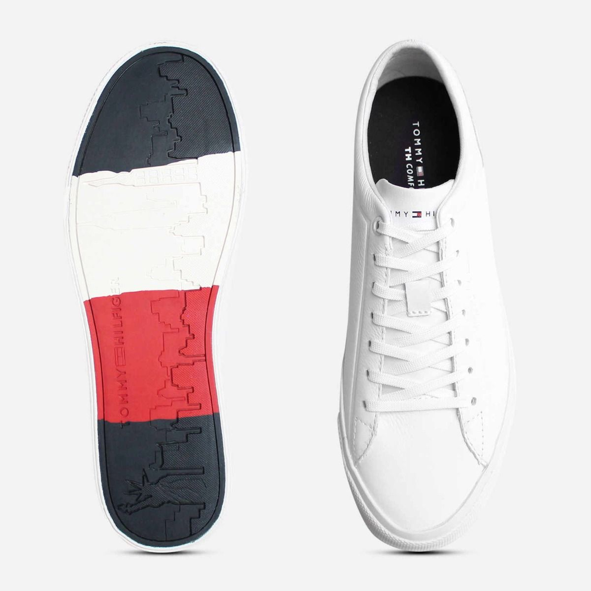 hot sales half price special sales Premium White Leather Sneakers by Tommy Hilfiger Shoes