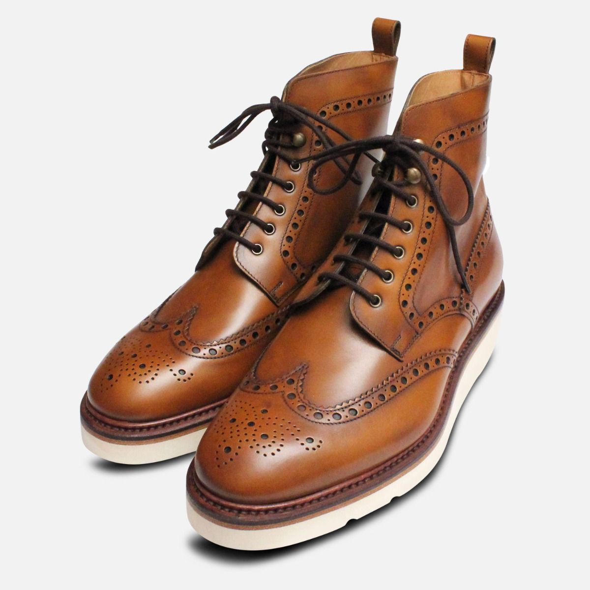 more photos outlet store cheaper sale Designer Italian Brogue Boots Goodyear Vibram Sole