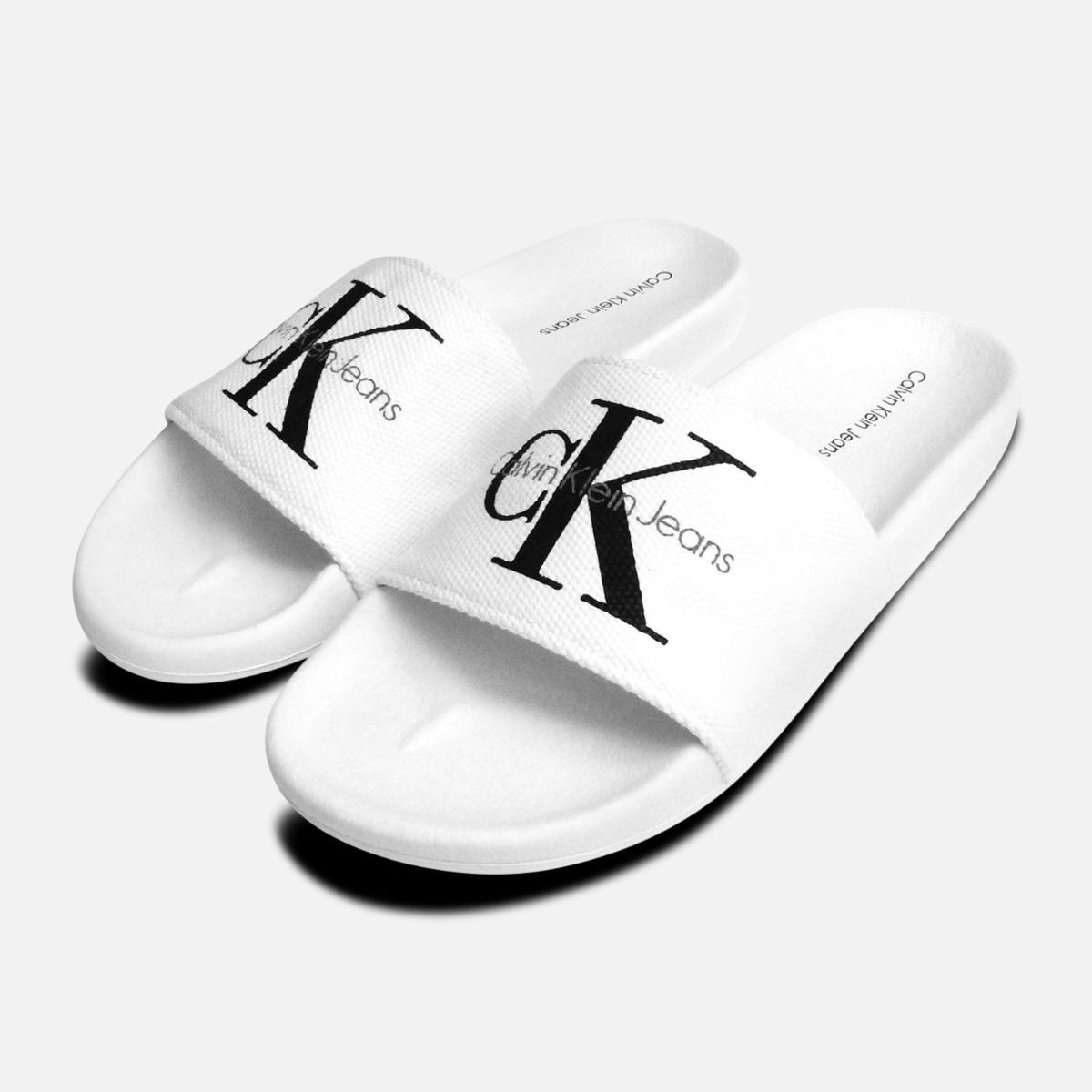 22bd1ec0119e White Mens Calvin Klein Viggo Canvas Sandals