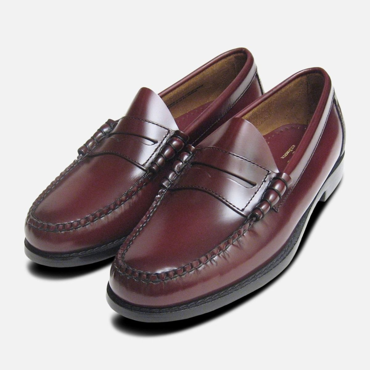 1779cf053d4 Classic Mens Burgundy Wine Larson Penny Loafers GH Bass Weejuns