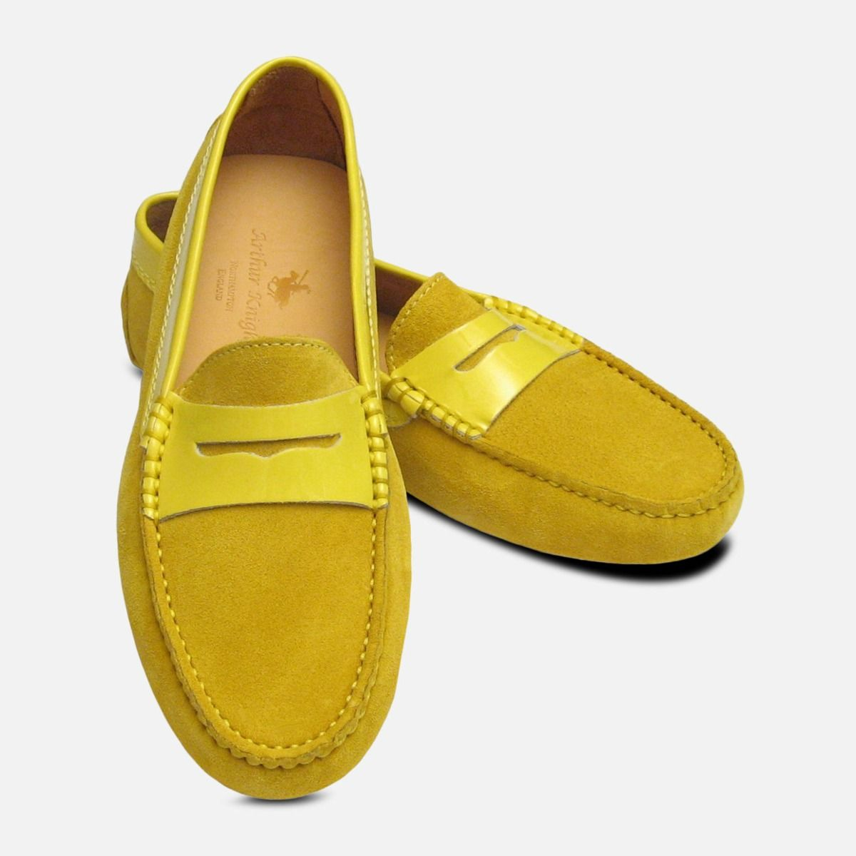 822a526caf5 Mustard Yellow Suede & Patent Leather Designer Womens Italian Driving Shoes