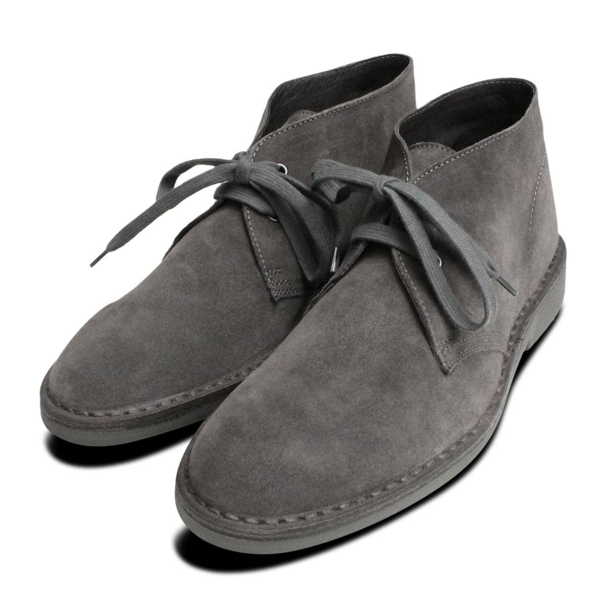 Dark Grey Suede Italian Mens Desert Boots