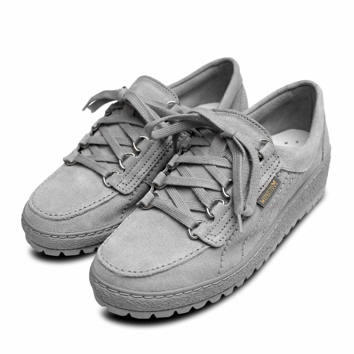 Mephisto Shoes in Light Grey Suede Leather