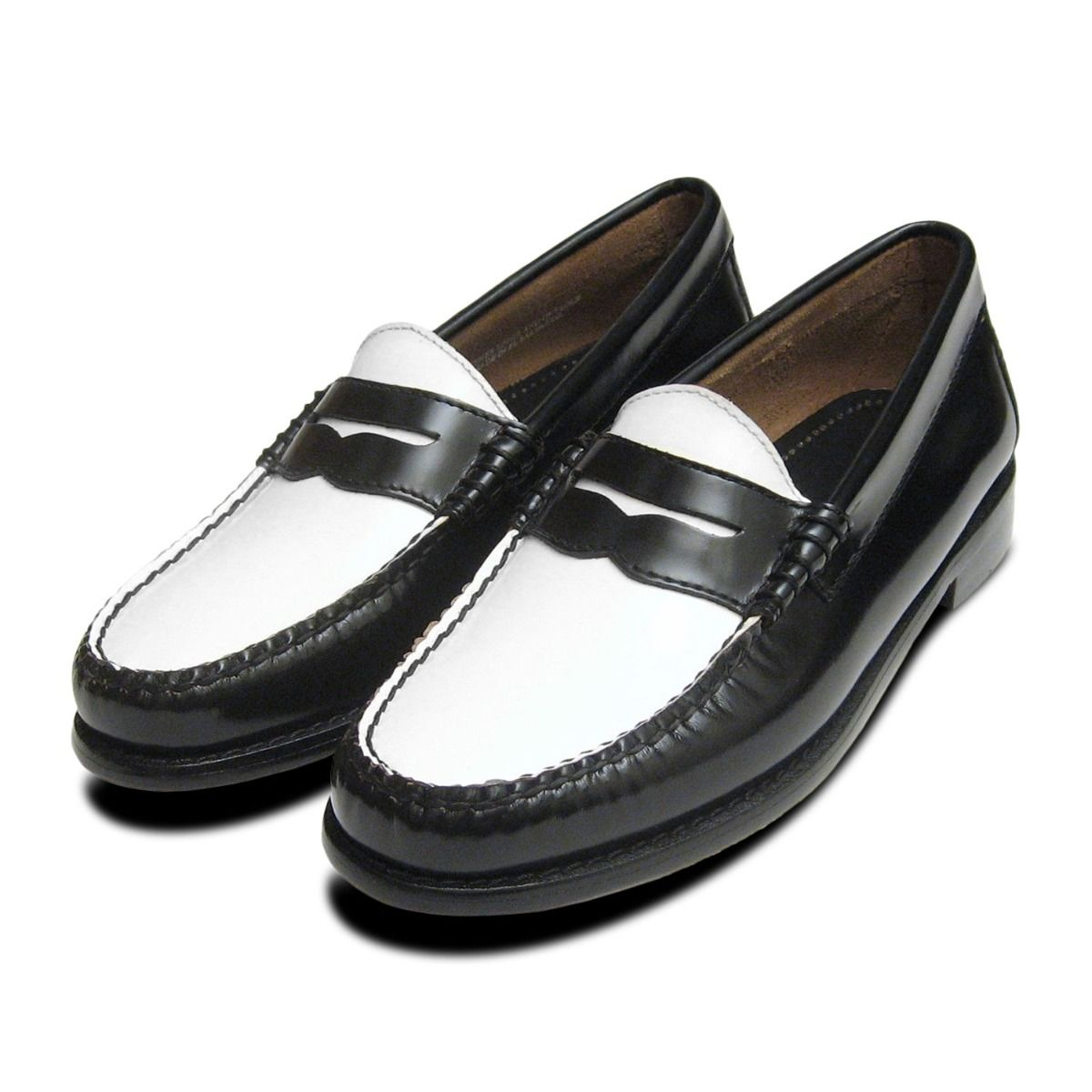 Black \u0026 White Ladies Penny Loafers