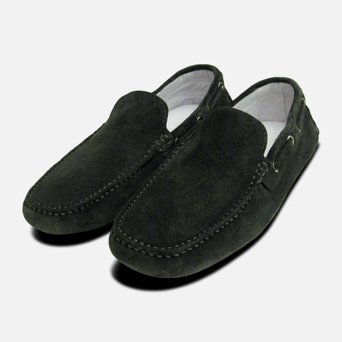 Dark Grey Suede Driving Shoes for Men