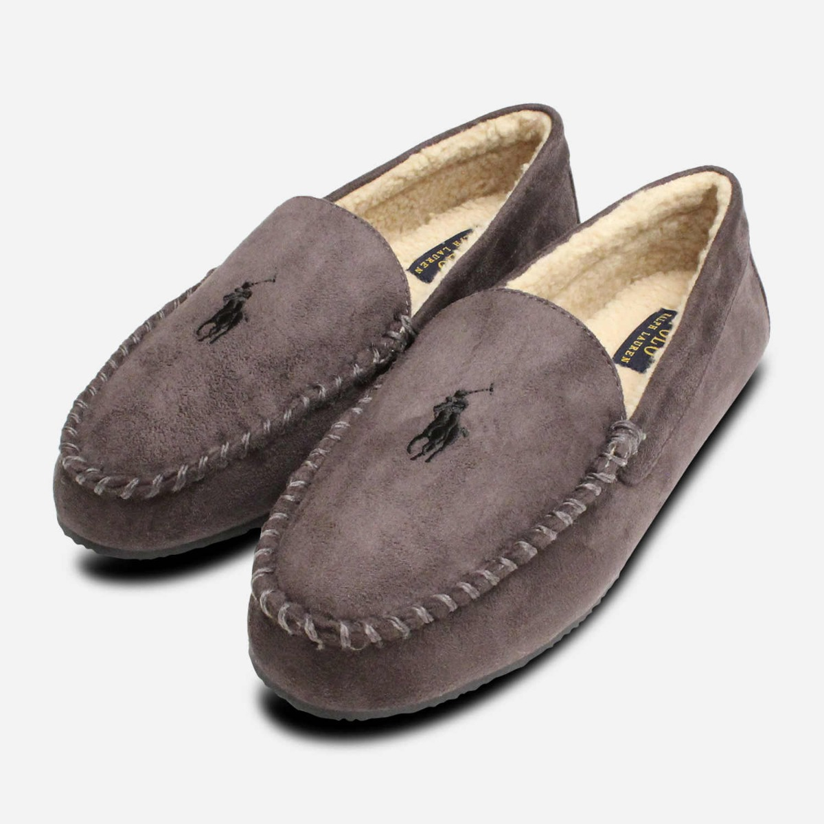 572e8f164a Details about Ralph Lauren Polo Charcoal Grey Mens Slippers