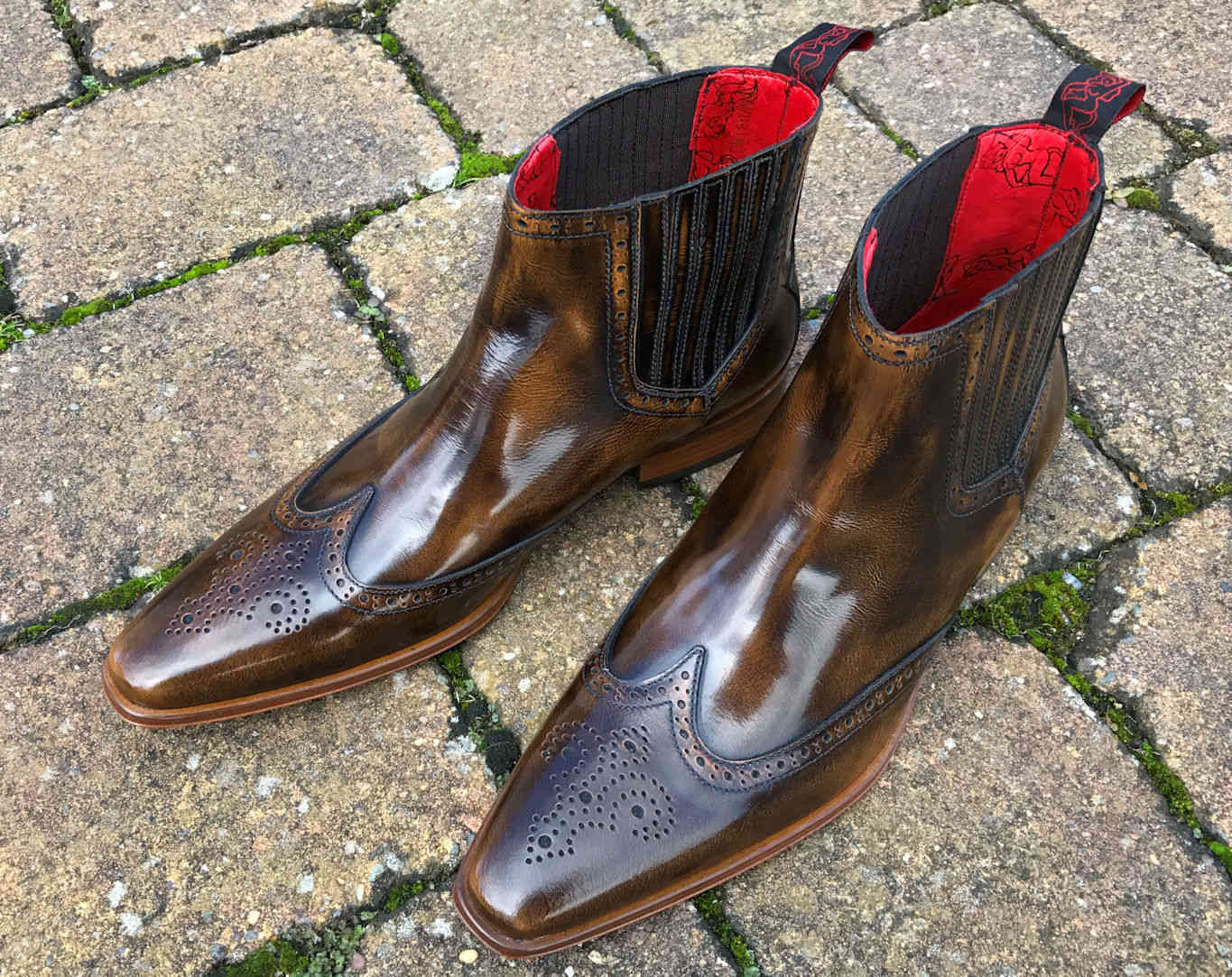 Pointed Dealer Boots by Jeffery West in Brown Polished