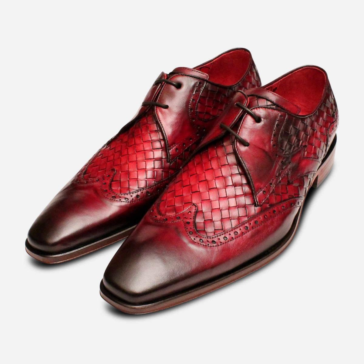 Jeffery West Bourgogne rouge foncé tissage Designer Shoes