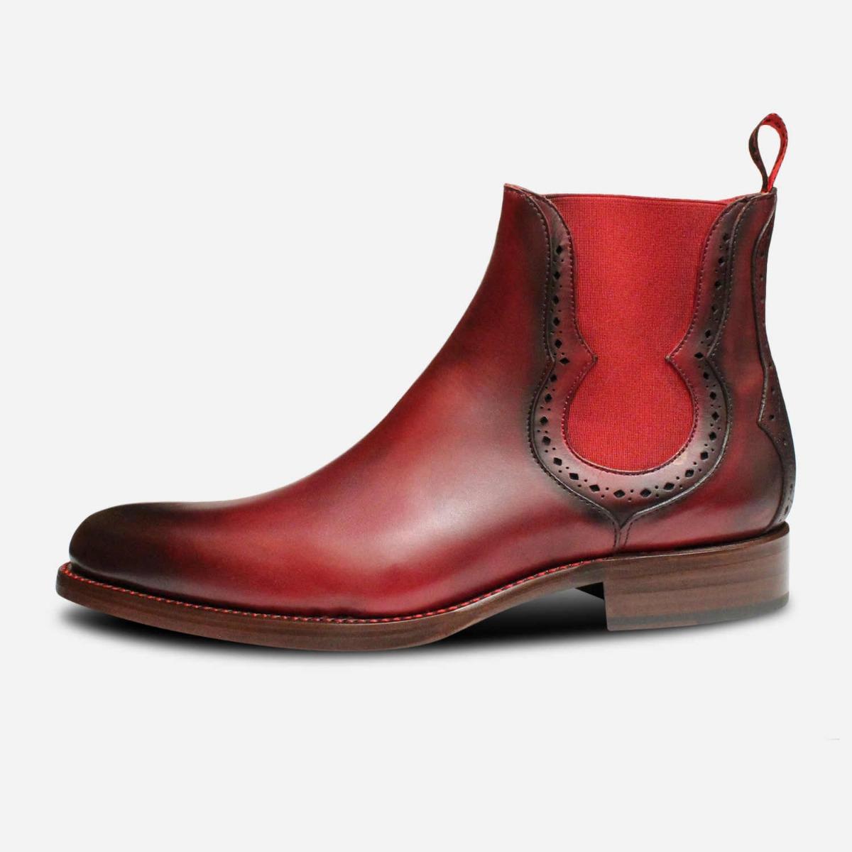 Jeffery West Dark Burgundy Red Elastic Chelsea Boots