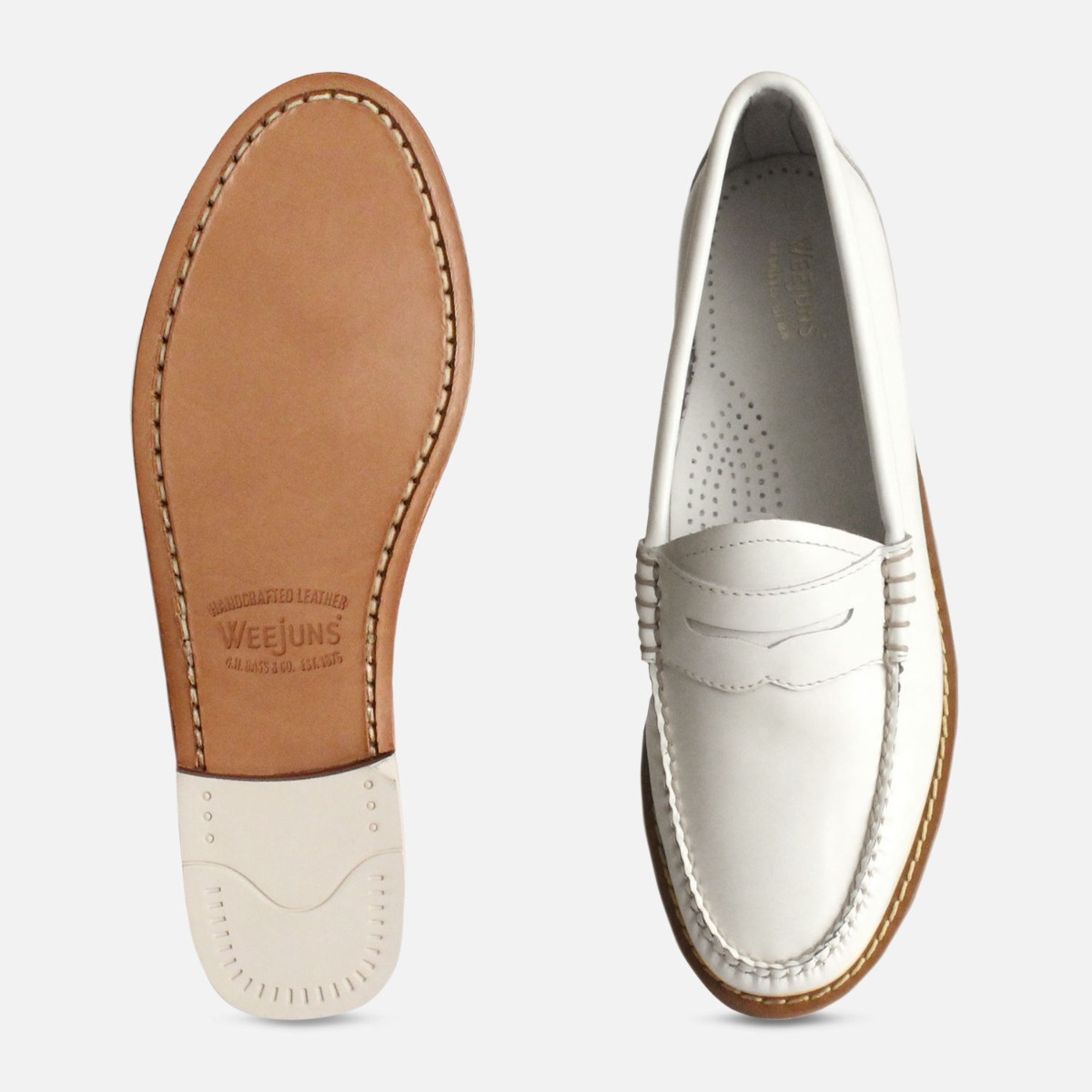 White Leather Ladies Bass Penny Loafers