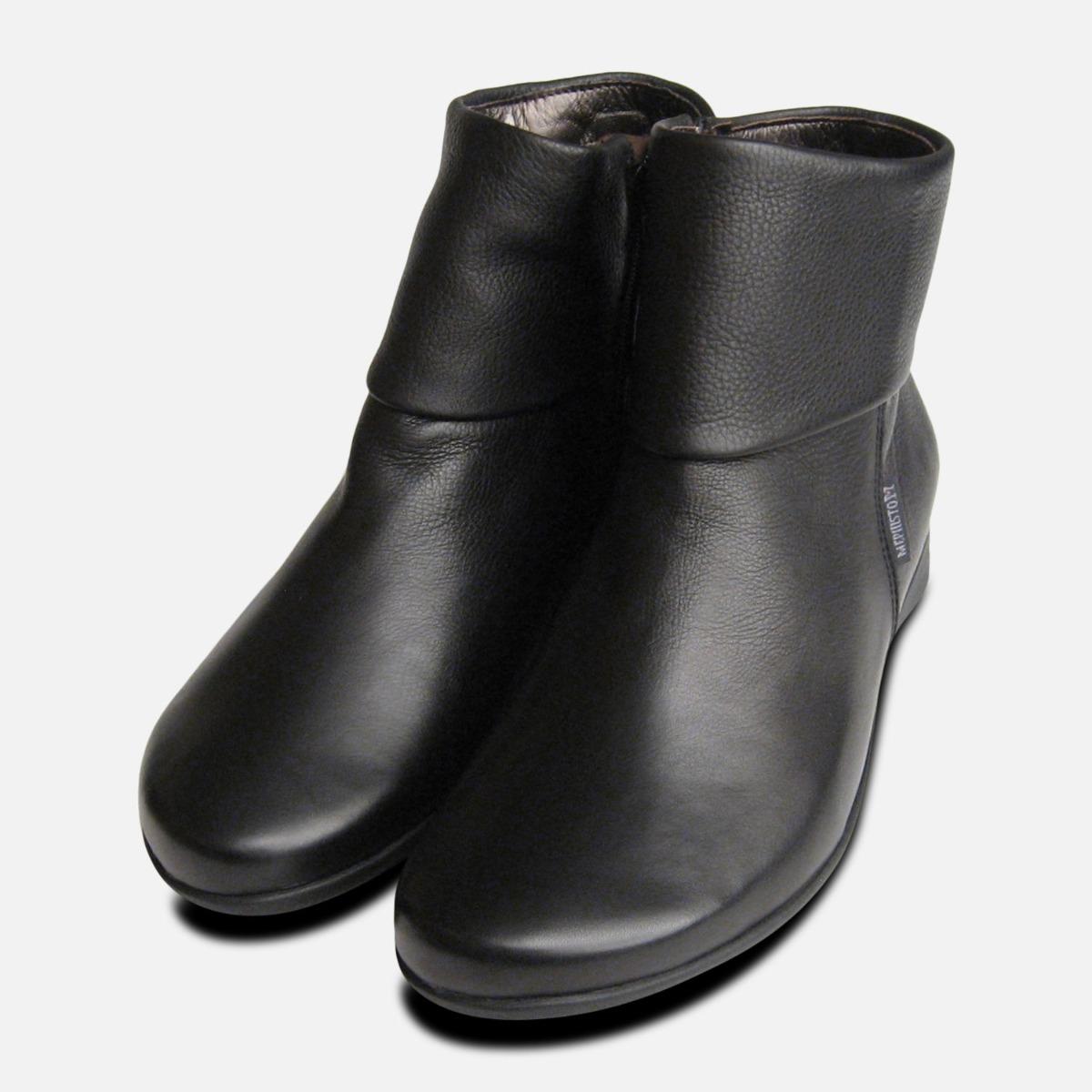 Ladies Fiducia Black Leather Zip Boots
