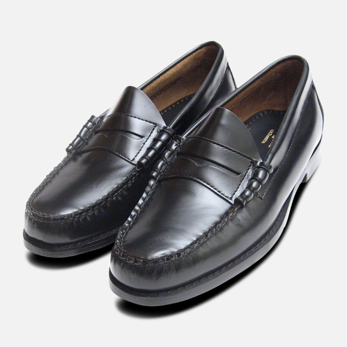 233948a0eca Details about Classic Mens Black Polished Larson Penny Loafers GH Bass  Weejuns