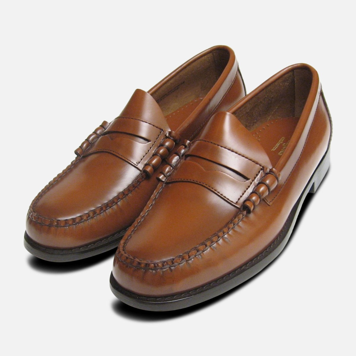 Details zu Classic Mens Honey Brown Larson Penny Loafers GH Bass Weejuns