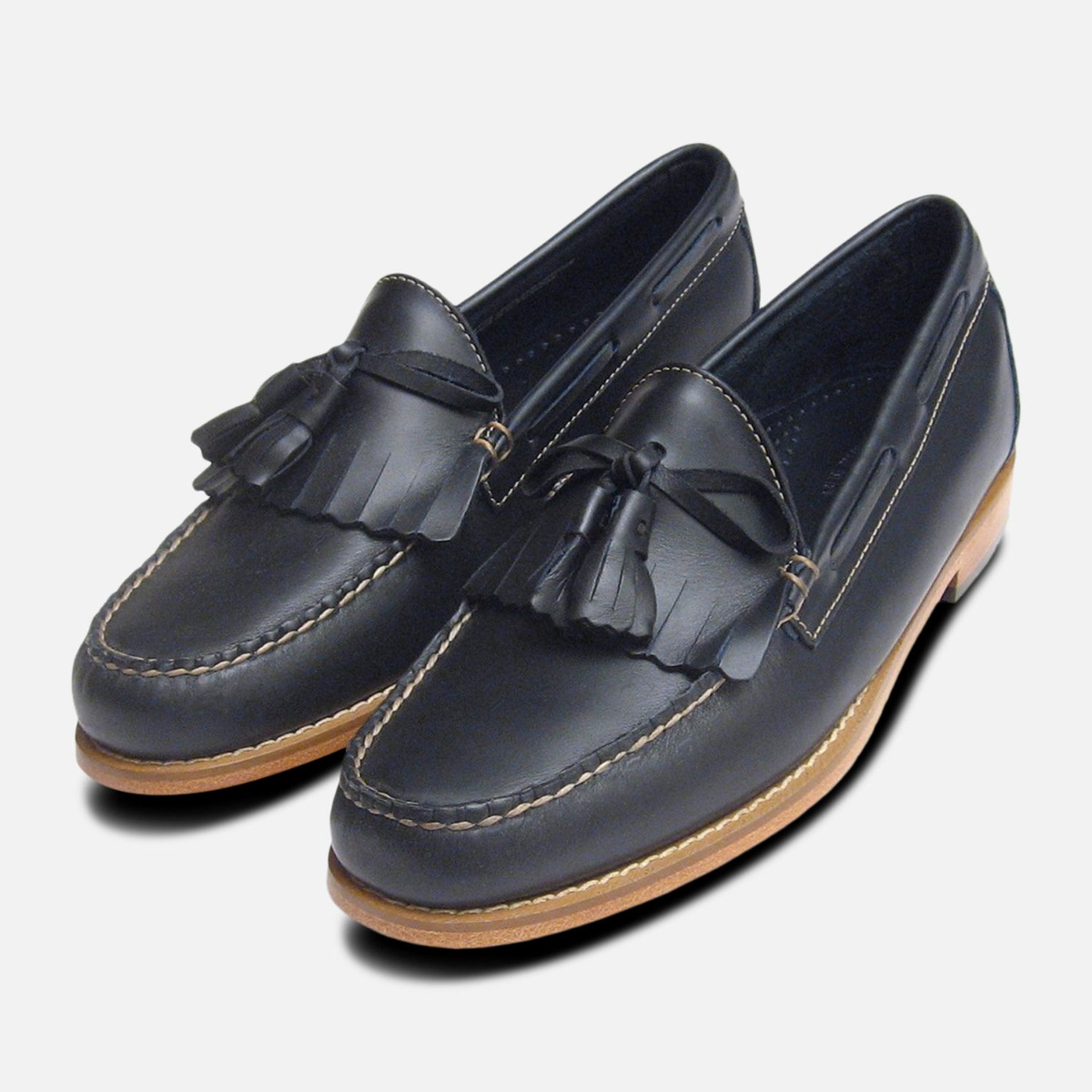 029958438f7 Details about Navy Blue Waxy Leather Mens Fringe   Tassel Loafers by Bass  Weejuns