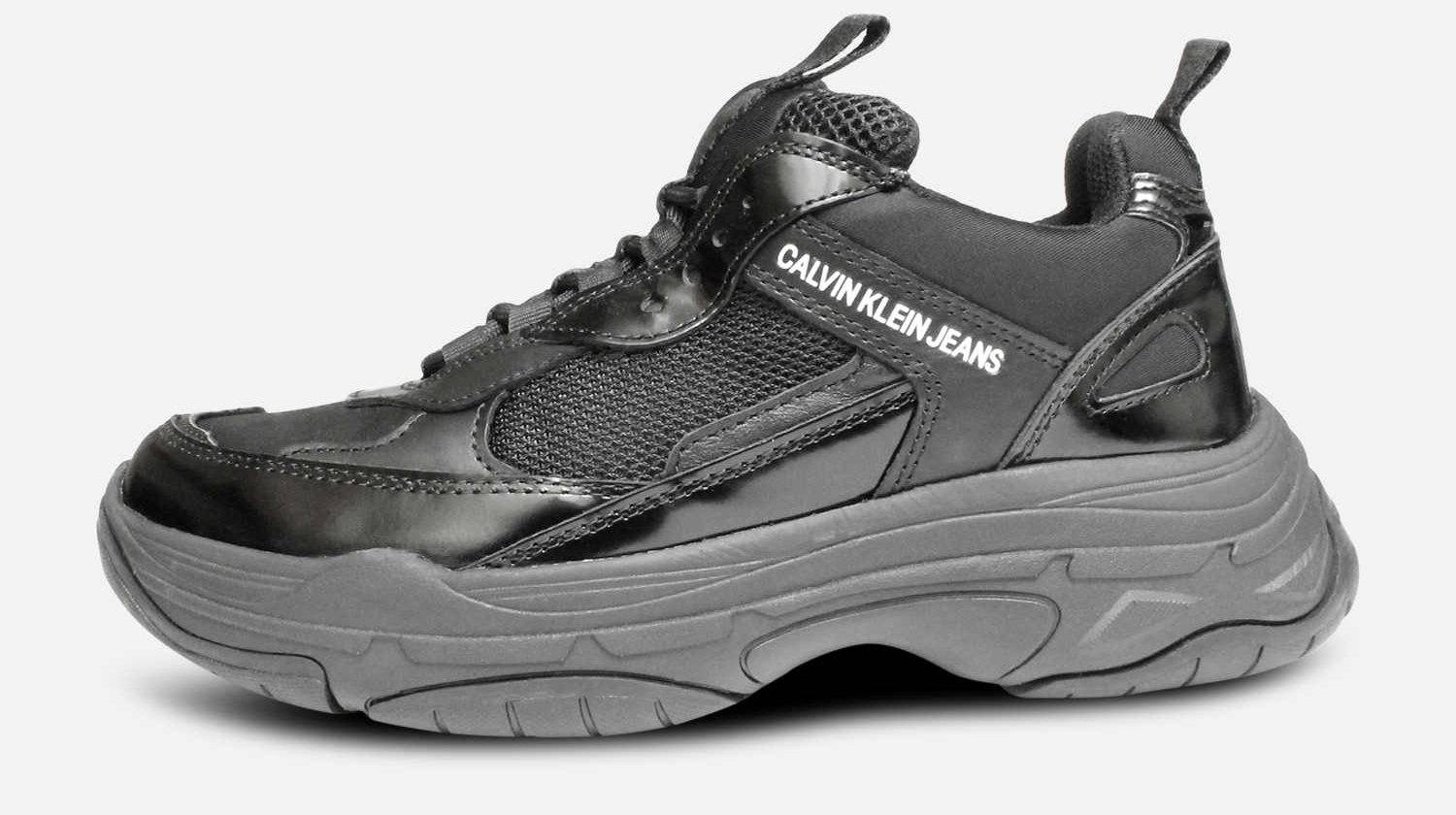 Calvin Klein Maya Chunky Trainers in Black Leather