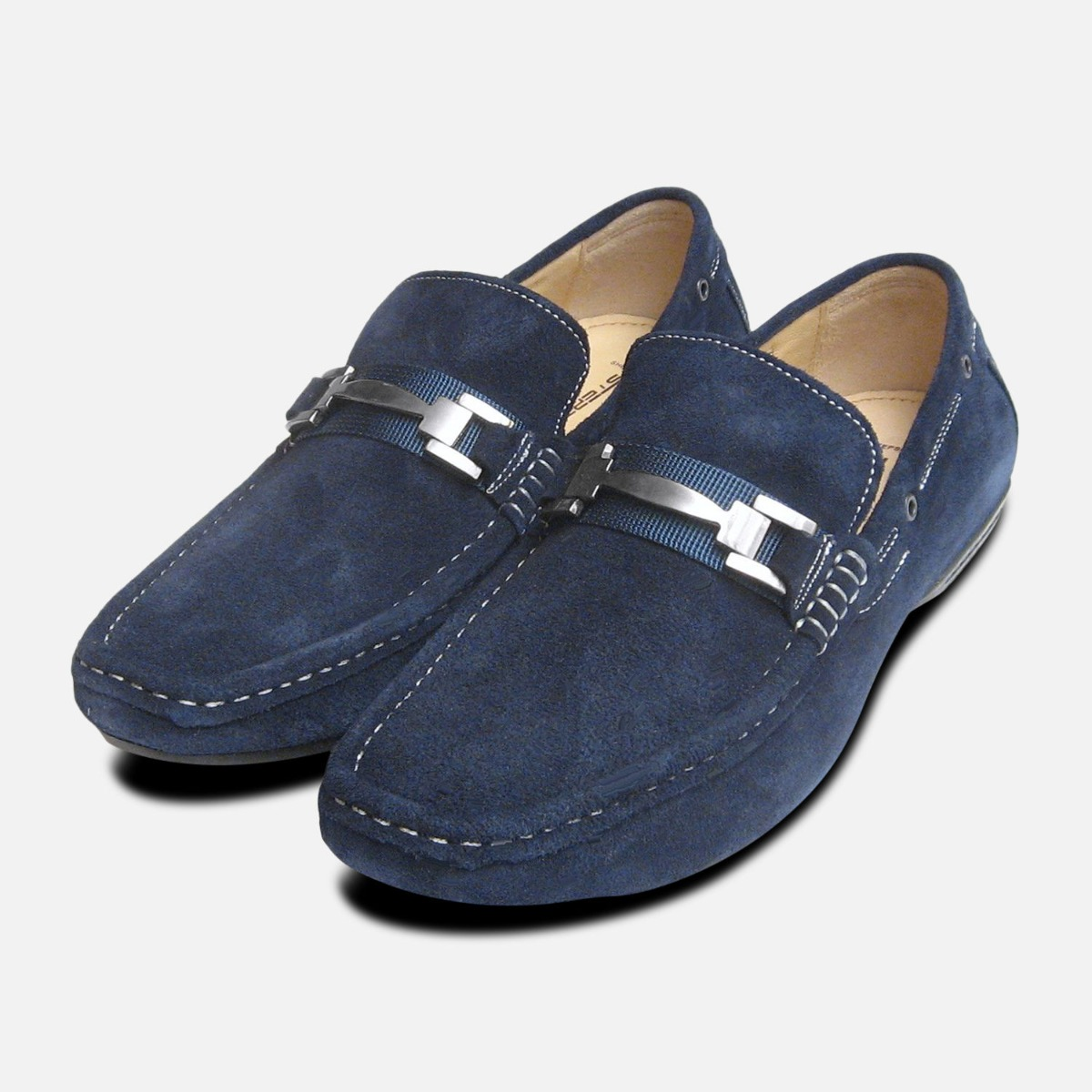 Designer Navy Blue Suede Loafers by