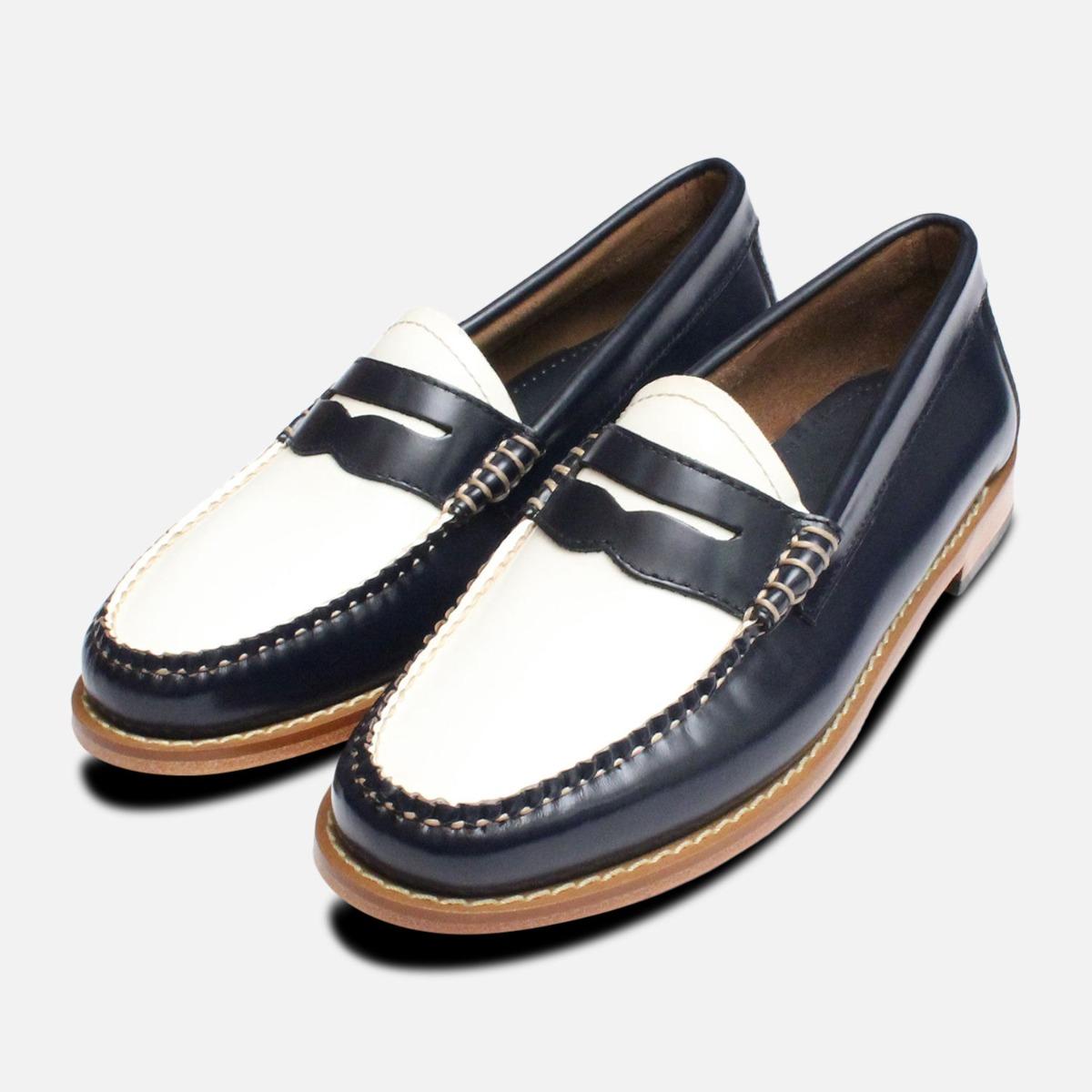 Navy Blue \u0026 White Leather Ladies Bass