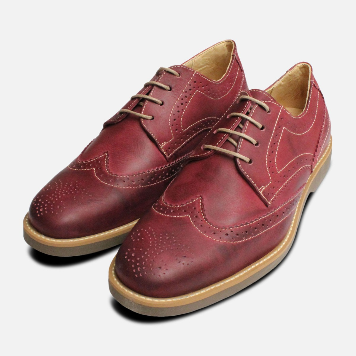 Detalles de Burdeos Hombre Zapatos Oxford Guinda Anatomic Zapatos