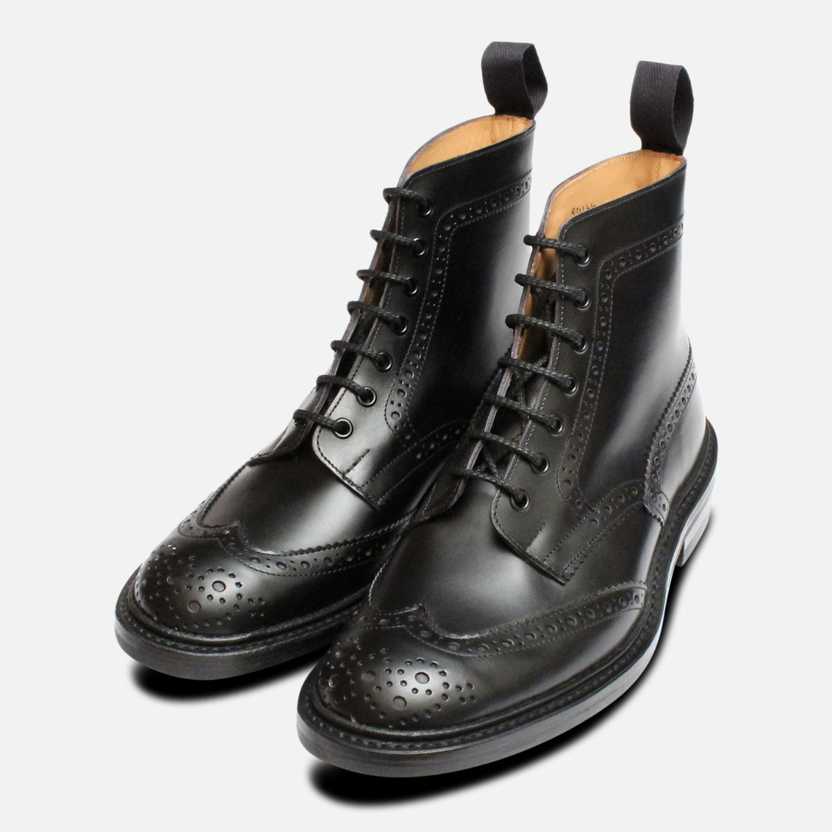 acd9ce26d1fe6 Trickers Stow Black Dainite Brogue Boots   eBay