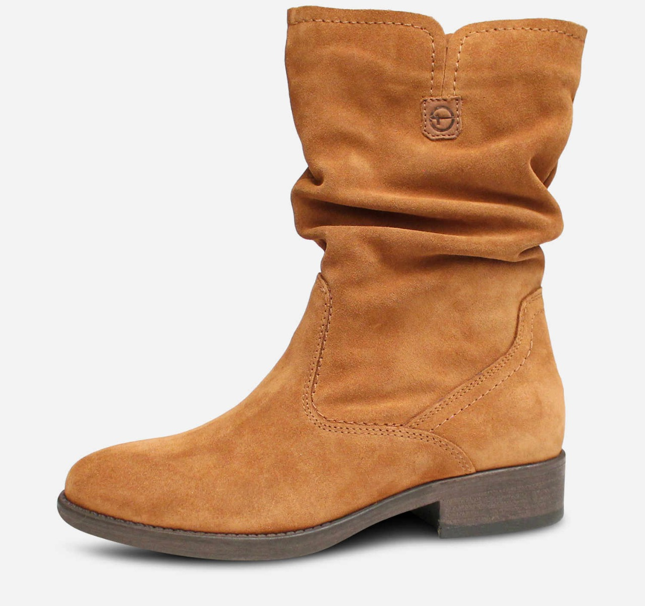 Tamaris Ruched Boots in Cognac Suede Leather