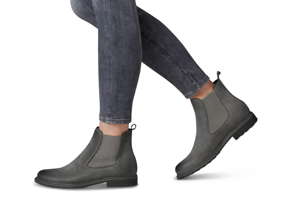 luxury fashion choose newest novel style Dark Grey Ladies Slip On Chelsea Boots by Tamaris