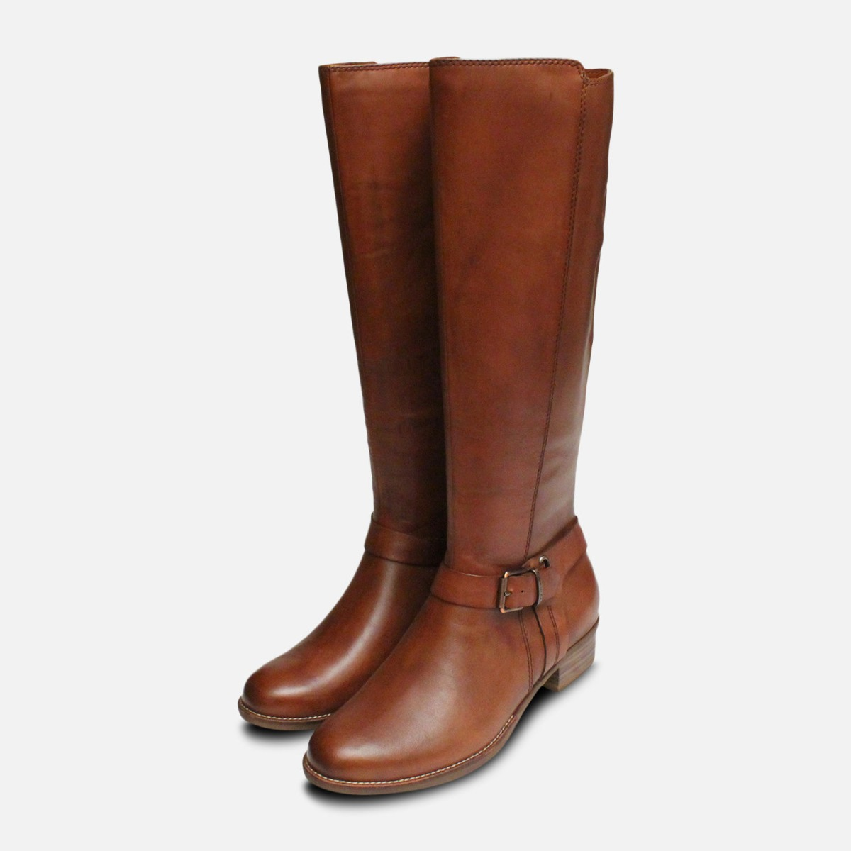 Details about Tamaris Brown Leather Ladies Tall Zip Boots