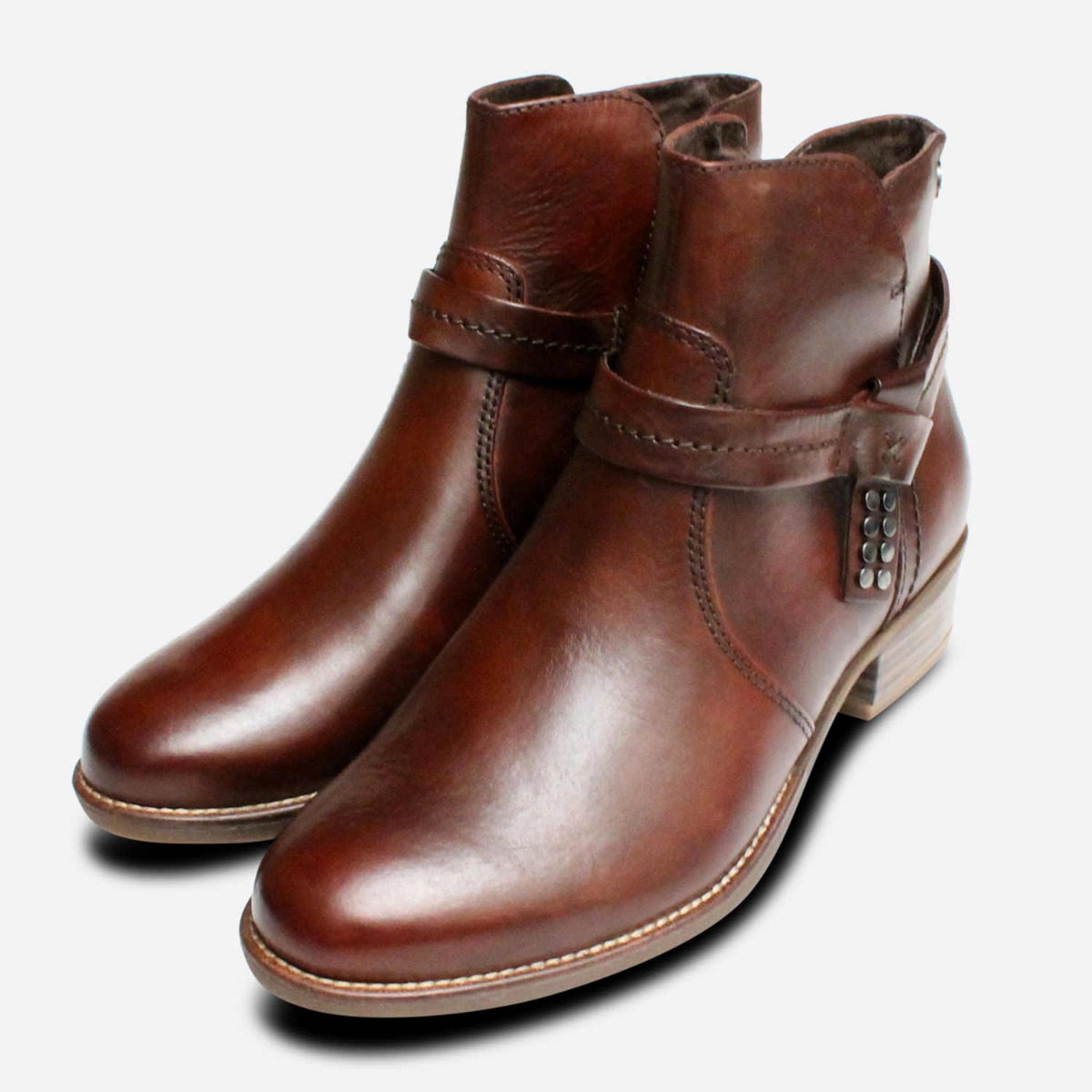 Brown Leather Ankle Boots by Tamaris