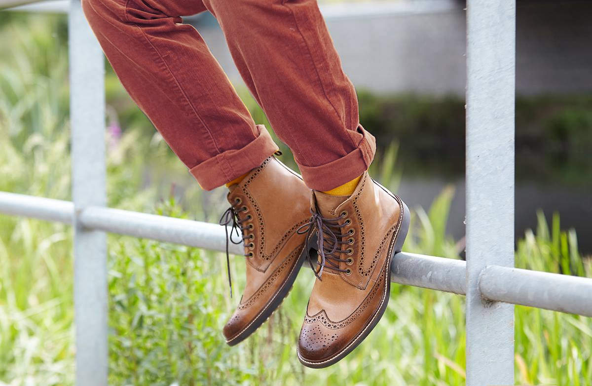 Luxury Taupe Leather Country Boot Brogues by Anatomic Shoes