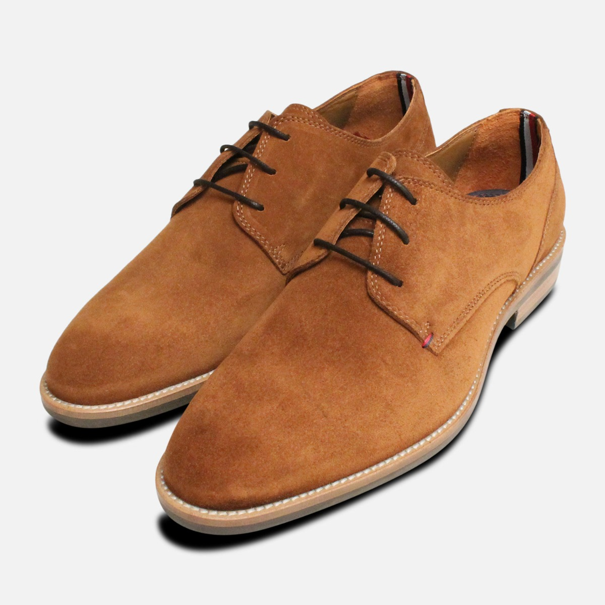04260dfb9 Tommy Hilfiger Cognac Suede Mens Daytona Shoes