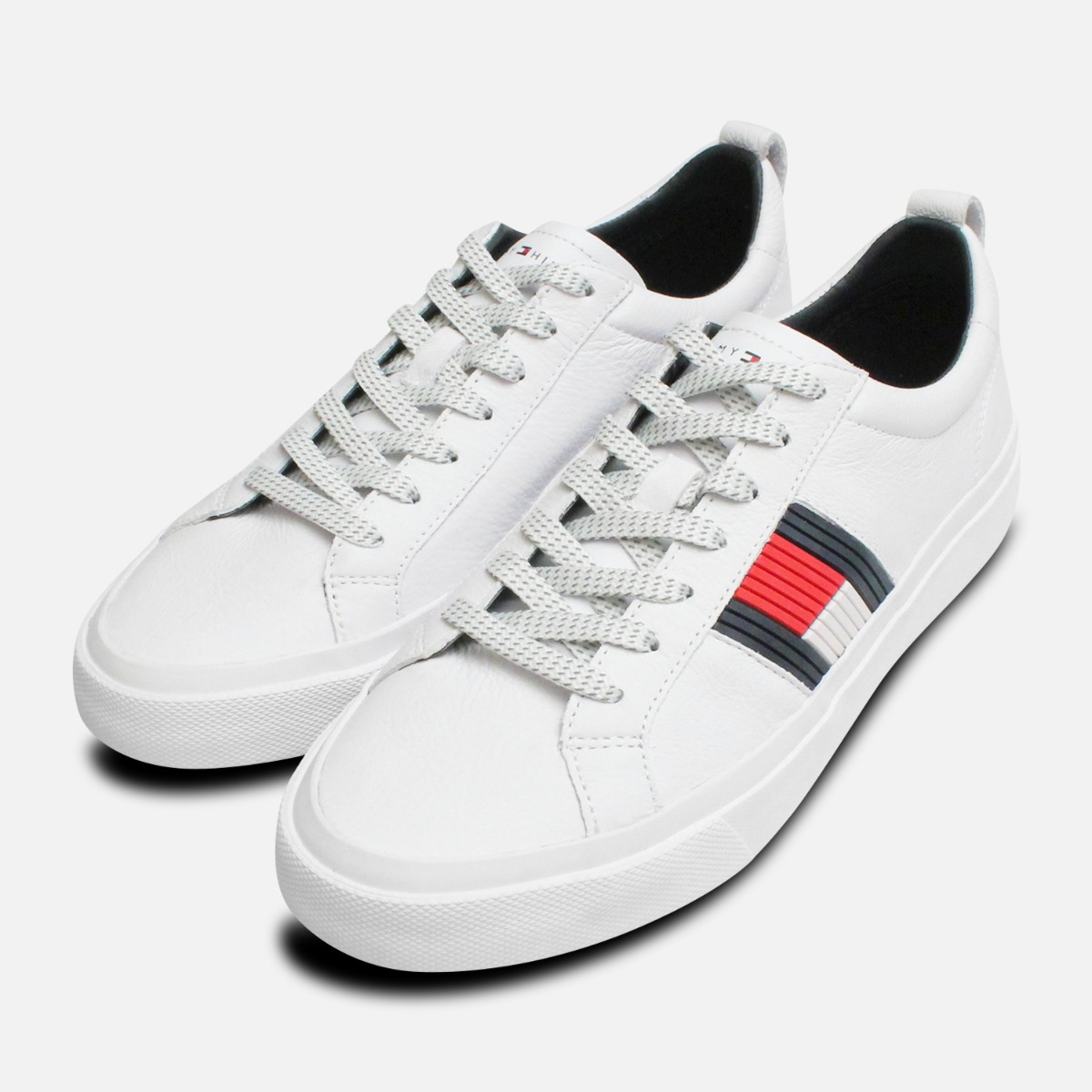 9348f3b0238198 Details about Tommy Hilfiger Flag Detail Leather White Sneakers