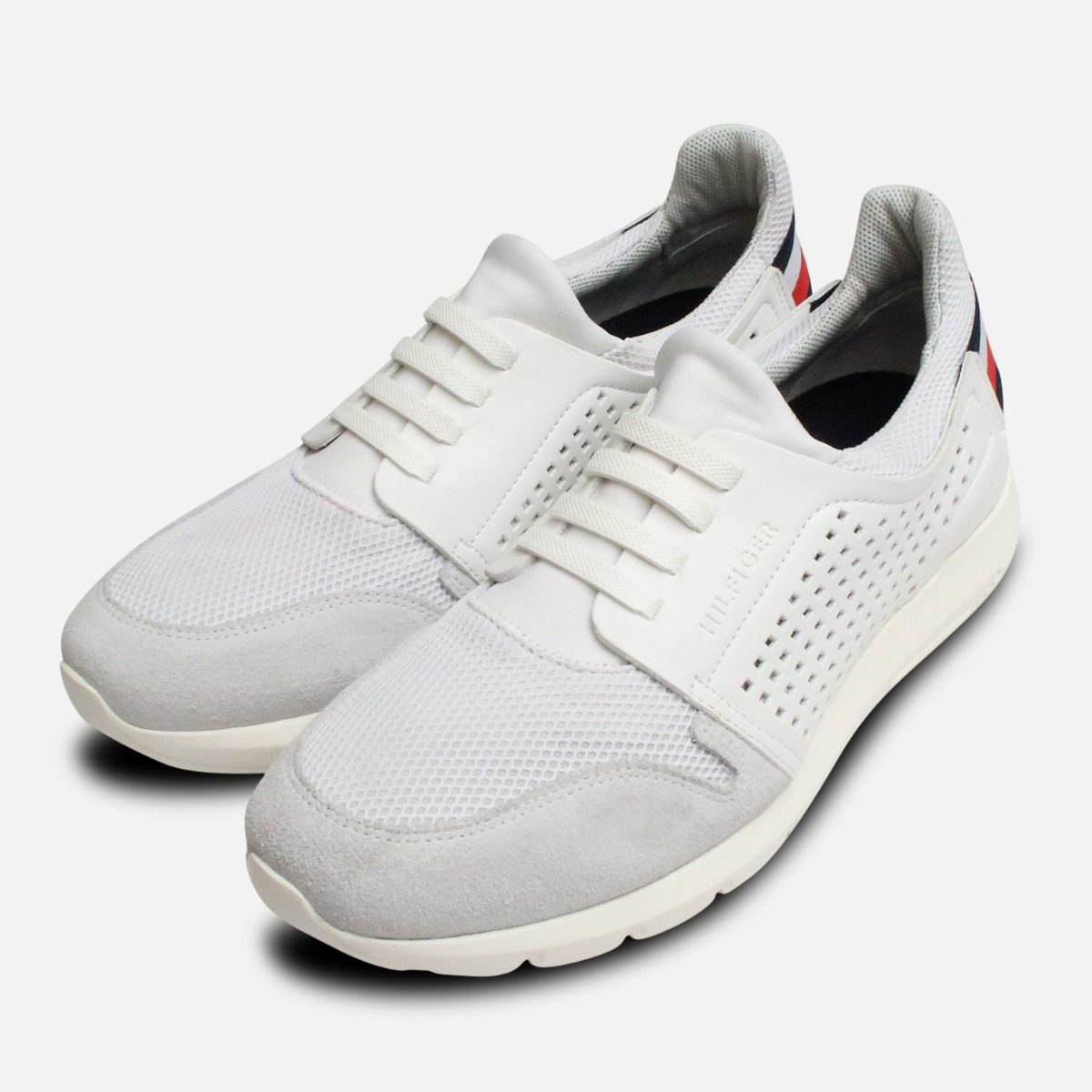 Tommy Hilfiger Jason Men's Lace Up Leather Fashion Sneakers White Multi
