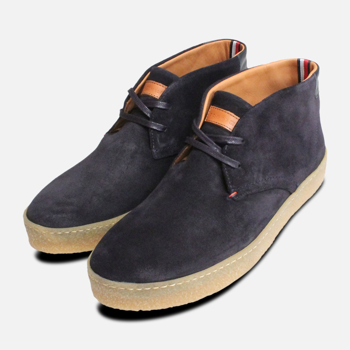 b85cd43ff0c Details about Navy Blue Suede Tommy Hilfiger Cupsole Crepe Boots