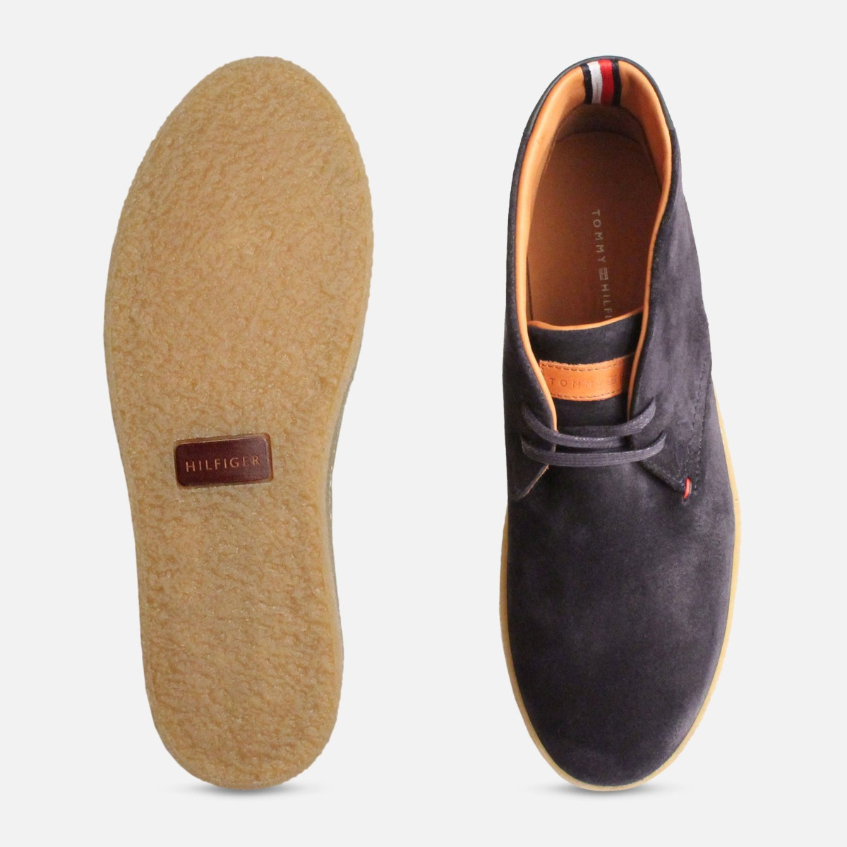 Navy Blue Suede Tommy Hilfiger Cupsole Crepe Boots