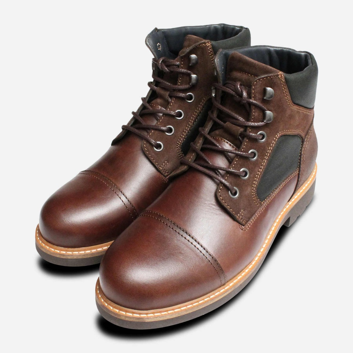 3cf4a767844bd Details about Tommy Hilfiger Coffee Brown Leather Urban Trekking Boot