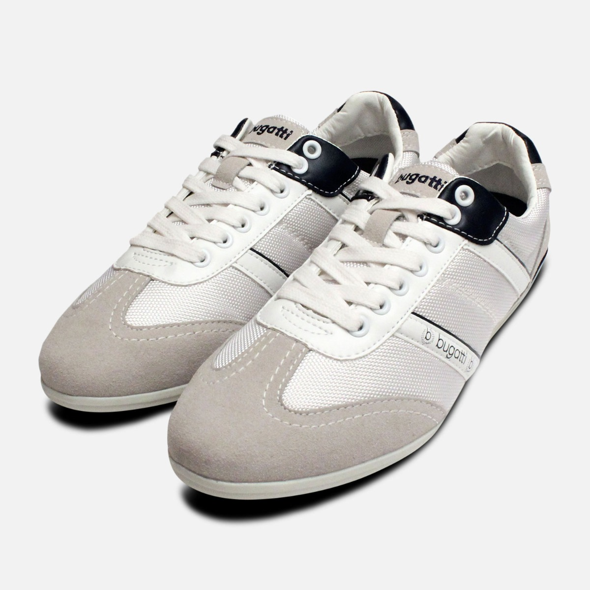 Grey \u0026 White Designer Bugatti Sneakers