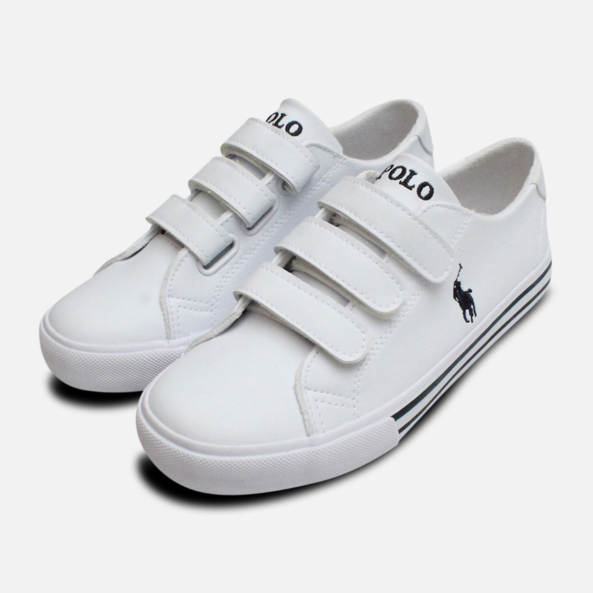 93ee5fd1 Details about White Ralph Lauren Polo Slater EZ Kids Shoes