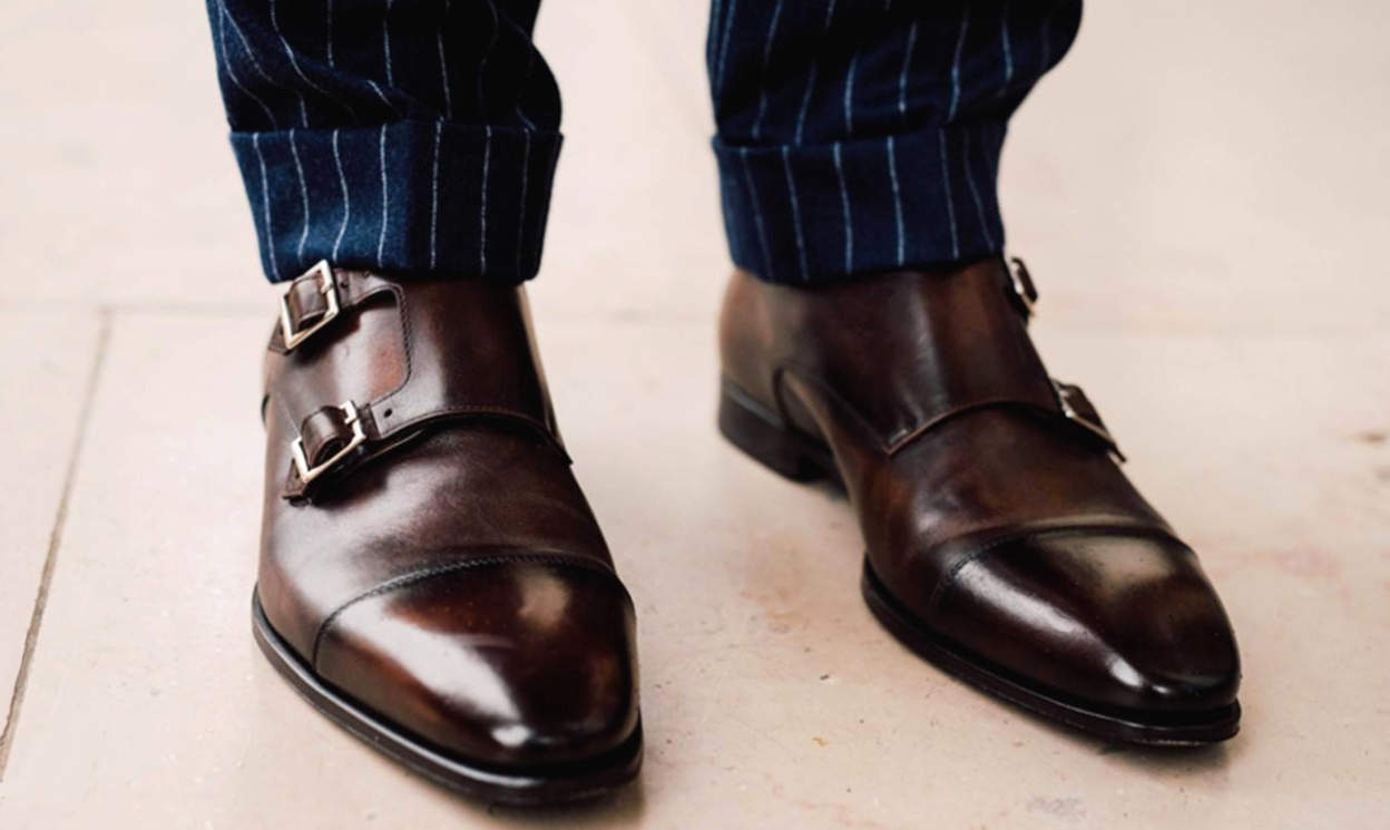 Brown Double Buckle Monk Strap Shoes