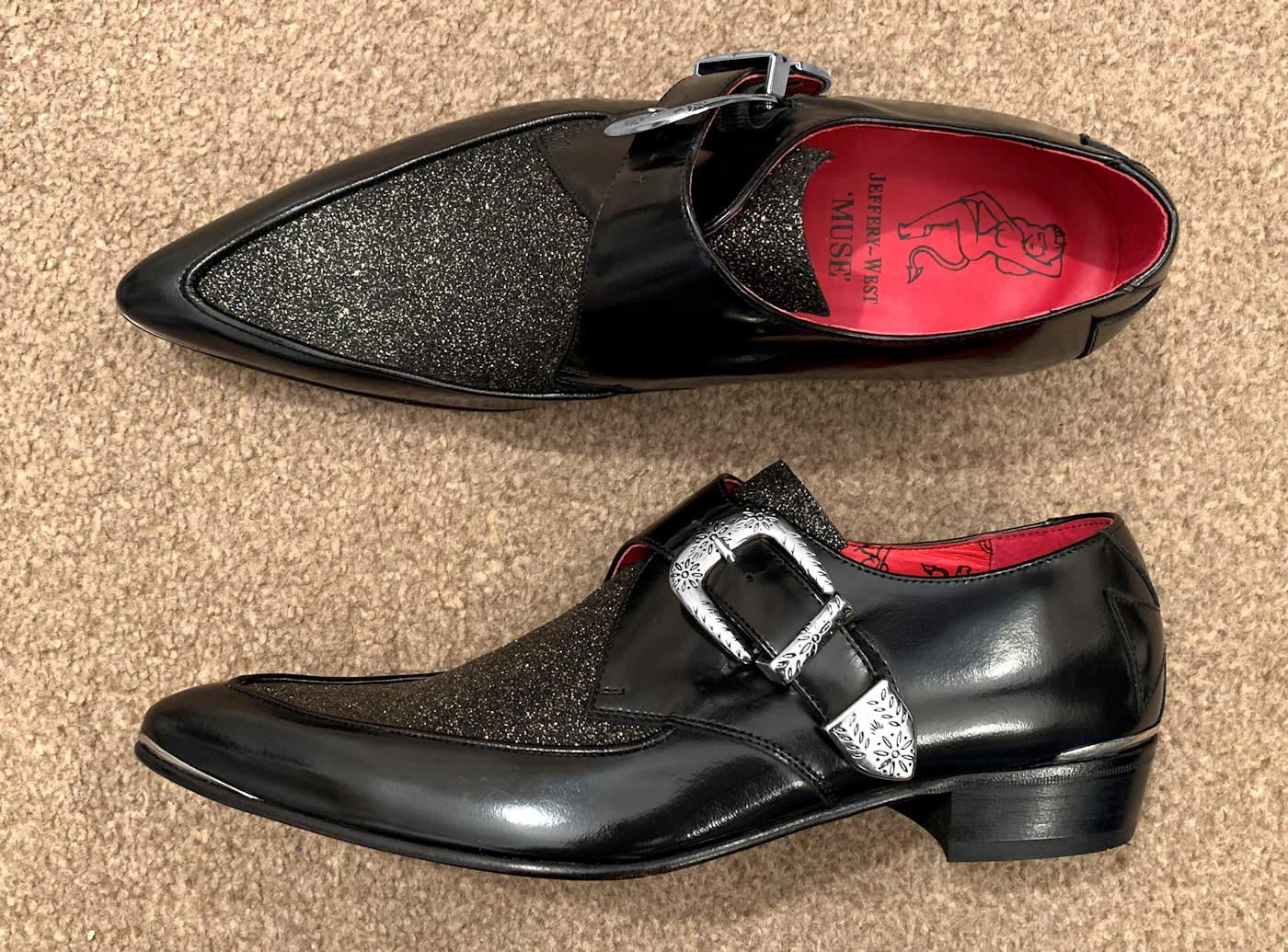 Silver Western Style Buckle Monk Strap Shoe