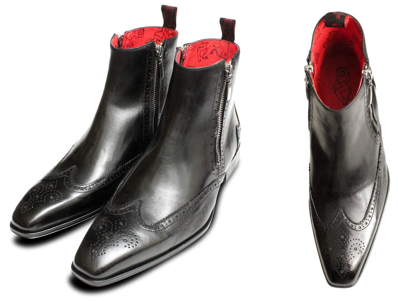 Black Twin Zip Boots for Men
