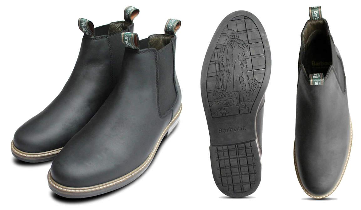 Barbour Matt Black Leather Farsley Chelsea Boot